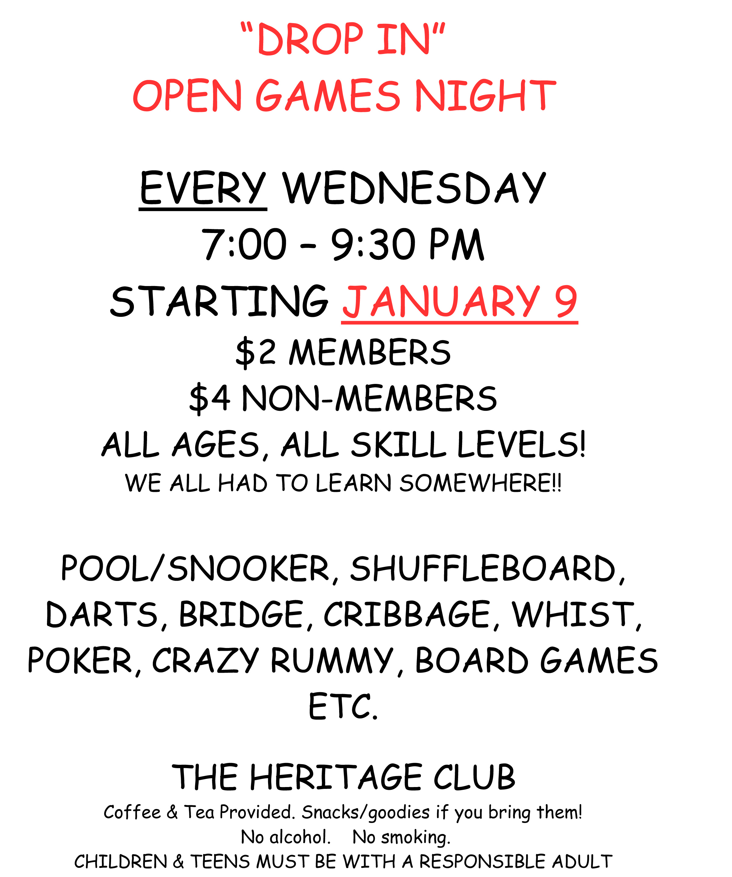 Heritage Club open games poster